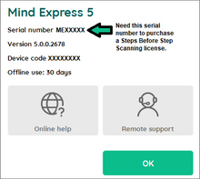 Menu > Help (Location of Mind Express 5 serial number.)