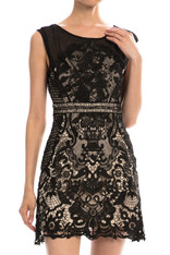 Black Crochet Lace Cocktail Dress