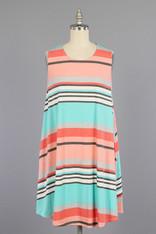 Pink Aqua Striped Dress