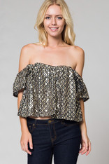 sequin off the shoulder top