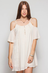 Off White Open Shoulder Dress