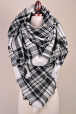 White Black and Grey Blanket Scarf