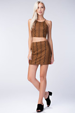 Brown Suede Skirt Black Embroidery