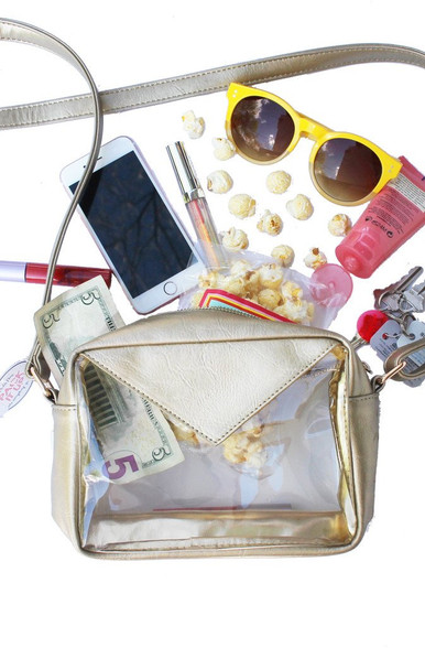 gold clear purse