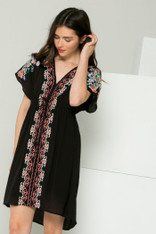 Black Dress With Floral Embroidery