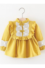 Yellow Ruffle and Lace Dress