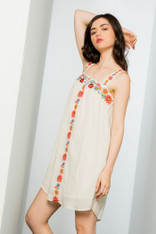Natural Dress with Embroidery