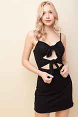 Black Dress Double Front Tie
