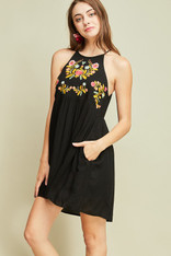 Black Dress with Embroidery and Pockets