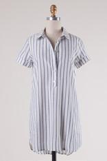 Striped Cotton Button Down Dress