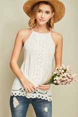 White Flowy Top Crochet Detailing