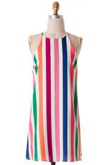 White Multi Color Stripe Dress