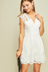 White Cotton and Eyelet Lace Dress