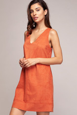 Burnt Orange Sleeveless Faux Suede Dress