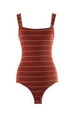 Burnt Orange Bodysuit White Stripes