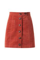 Rust High Waist Button Down Skirt