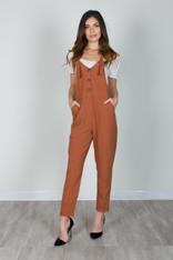 Burnt Orange Overall Jumpsuit Tie Straps