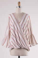 Striped Crossover Top Bell Sleeves