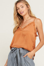 Burnt Orange Ruffle Trim Cami