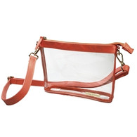 Burnt Orange Small Crossbody Clear Purse