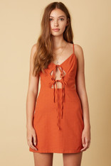 Double Tie Burnt Orange Fitted Dress
