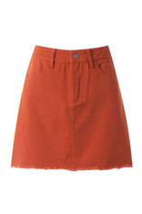 Burnt Orange Denim Skirt Frayed Hem
