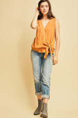 Burnt Orange Sleeveless Side Tie Top