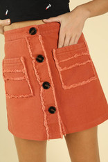 Burnt Orange High Waist Skirt with Front Pockets