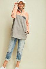 Grey and Pink Colorblock Fleece Pullover