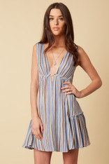Blue Striped Deep V Dress