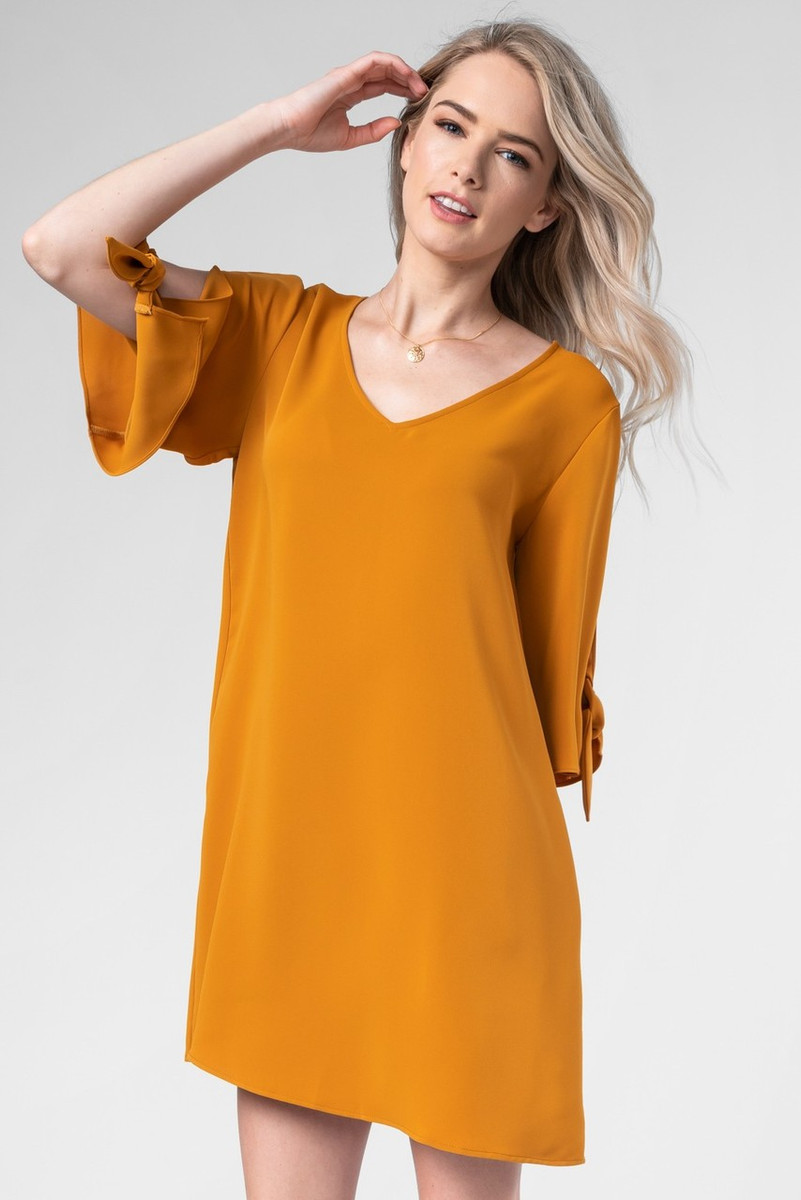 Burnt Orange V Neck Dress With Tie Sleeves Longhorn Fashions