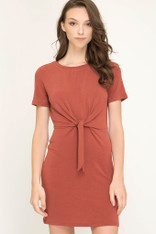 Rust Tie Front Dress