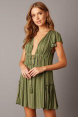 Green Striped Flowy Dress