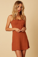 Burnt Orange Dress White Dots