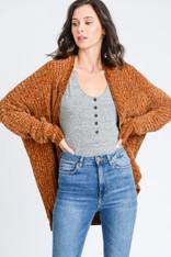 Burnt Orange Chenille Open Sweater