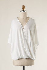 White Short Sleeve Crossover Top