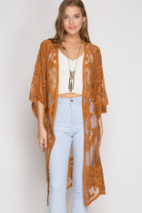 burnt orange lace cardigan