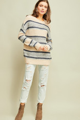 Grey and Navy Striped Sweater