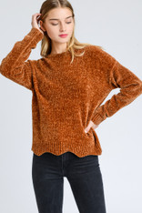 burnt orange chenille sweater