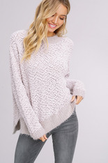 Soft Grey Popcorn Style Pullover