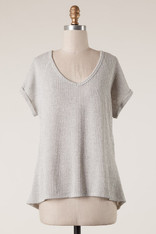 Grey Knit Short Sleeve Top