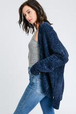Navy Chenille Open Sweater