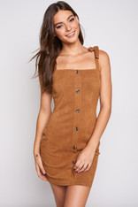 Camel Button Down Shoulder Tie Dress
