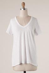 White Cotton Short Sleeve Top