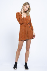 Burnt Orange Patterned Dress Buttons and Waist Tie