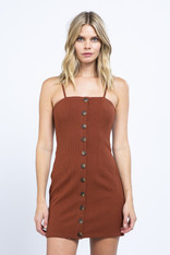 Rust Fitted Knit Button Down Dress