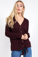 Wine Ribbed Button Down Front Tie Top