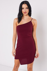 Wine One Shoulder Cocktail Dress