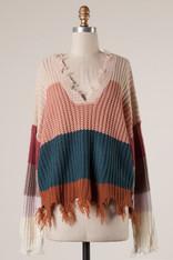 Teal Blush and Burnt Orange Ripped Hem Sweater