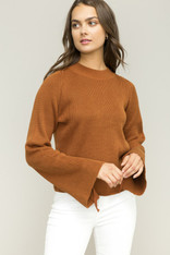 Burnt Orange Bell Sleeve Sweater